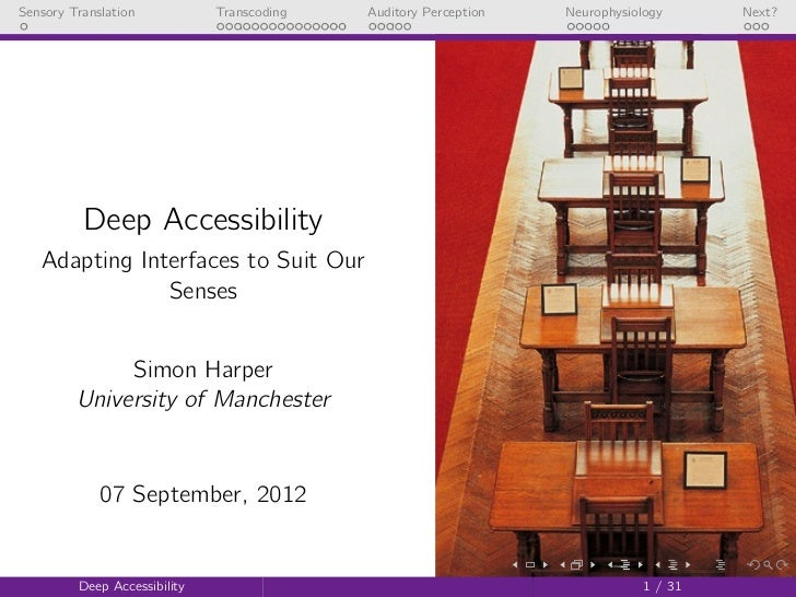 Deep Accessibility: Adapting Interfaces to Suit Our Senses