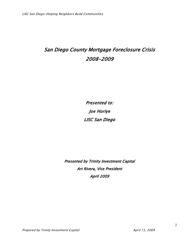 LISC San Diego-Helping Neighbors Build Communities                   San Diego County Mortgage Foreclosure Crisis         ...