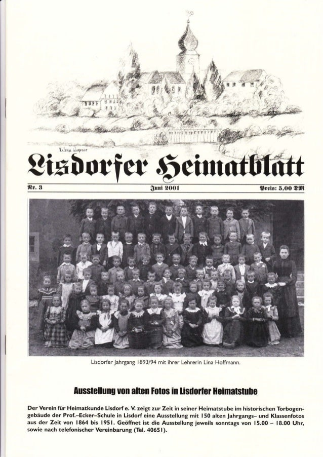 r., Sixborfer 6etun,lt. 3 Sü.d POOI Ttci!: 5,oo O0l Lisdorfer .lahrgang 1893/94 mit ihrer Lehrerin Lina Hofrmann. [usstell...