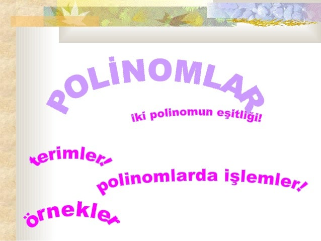 LİSE - POLİNOMLAR 2