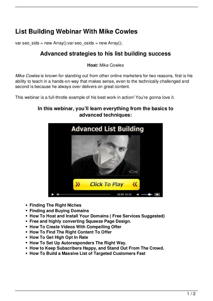 List Building Webinar With Mike Cowles