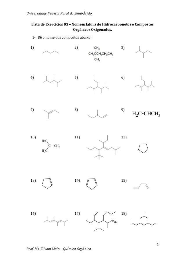 Lista.de.exercicios.03 nomenclaturas.de.hidrocarbonetos.e.compostos.organicos.oxigenados