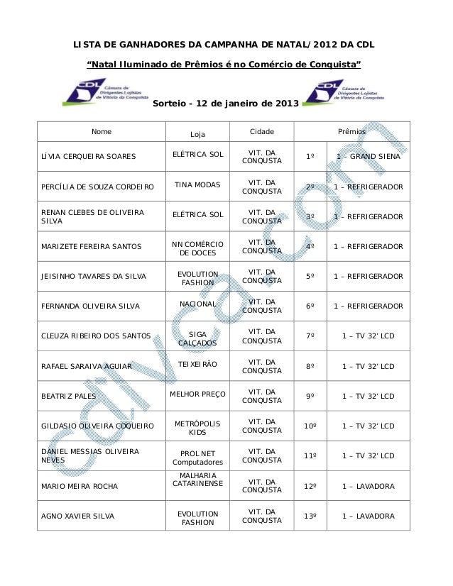 """LISTA DE GANHADORES DA CAMPANHA DE NATAL/2012 DA CDL          """"Natal Iluminado de Prêmios é no Comércio de Conquista""""     ..."""