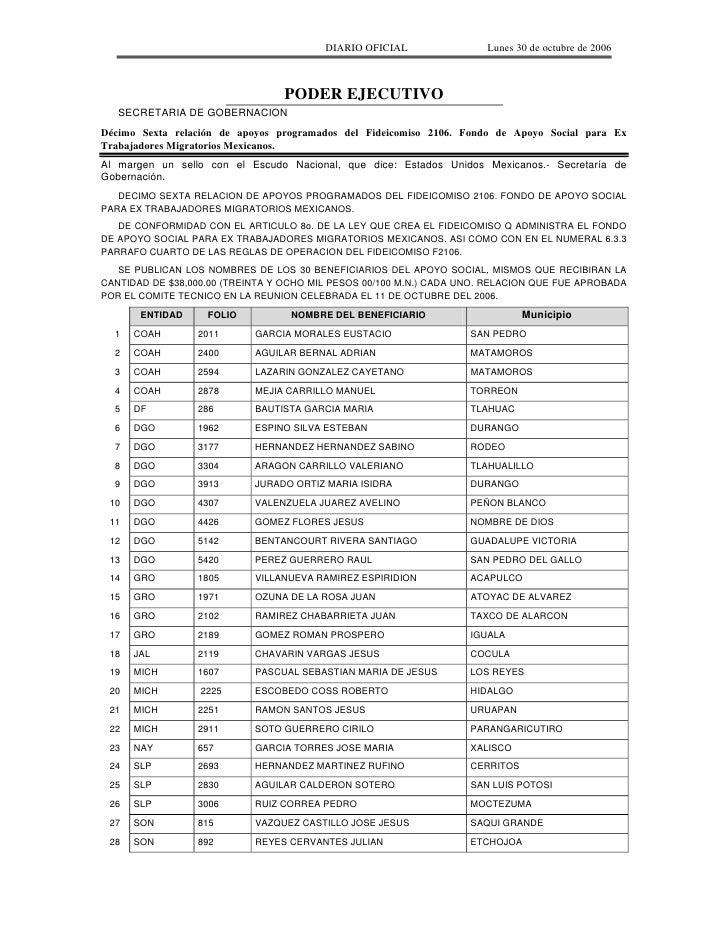 Lista 16 Del 30 De Octubre