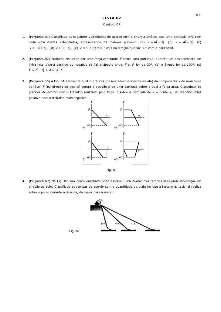 (Lista 02) Capítulo 07 - Energia Cinética e Trabalho