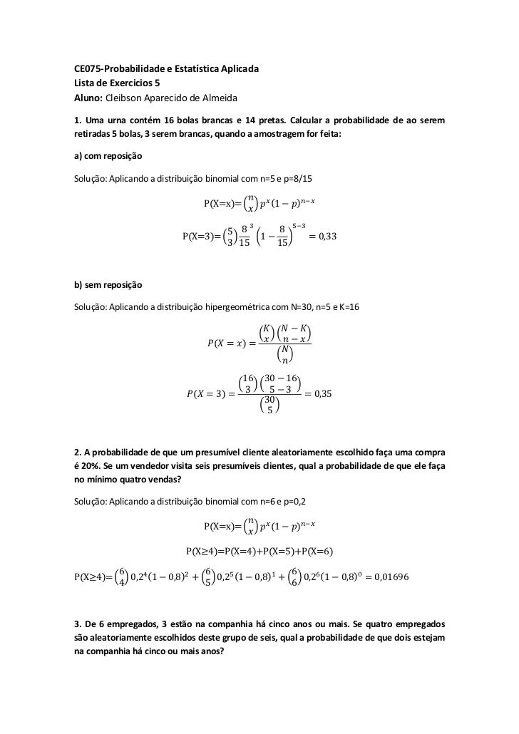 Exercícios - Distribuições de Probabilidade