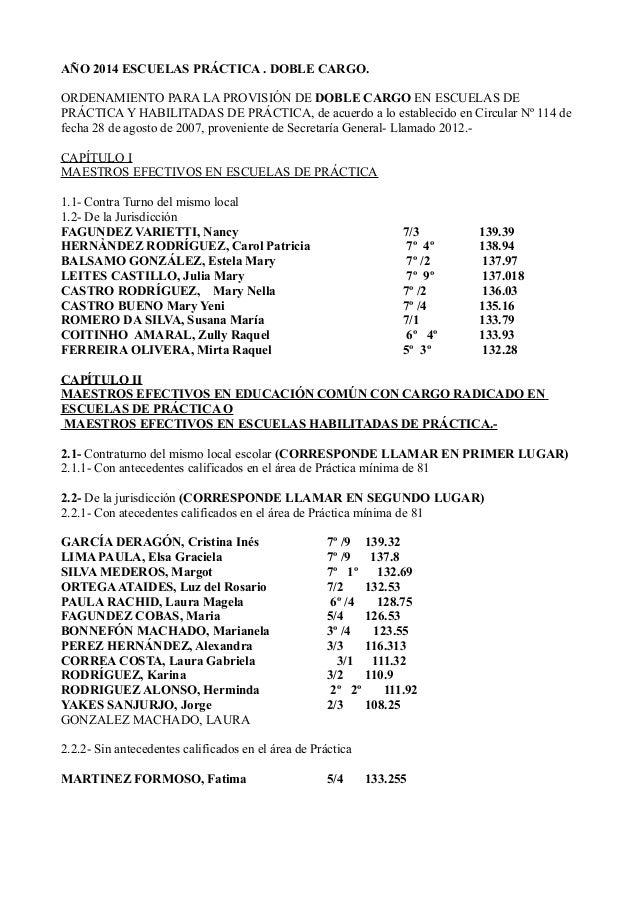 AÑO 2014 ESCUELAS PRÁCTICA . DOBLE CARGO. ORDENAMIENTO PARA LA PROVISIÓN DE DOBLE CARGO EN ESCUELAS DE PRÁCTICA Y HABILITA...