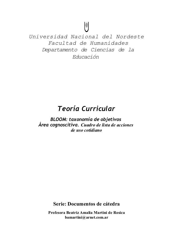 Lista de acciones de la taxonomía de Bloom