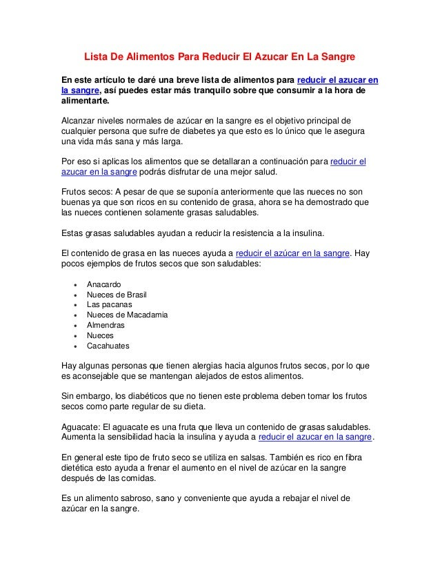 Lista De Alimentos Para Reducir El Azucar En La SangreEn este artículo te daré una breve lista de alimentos para reducir e...