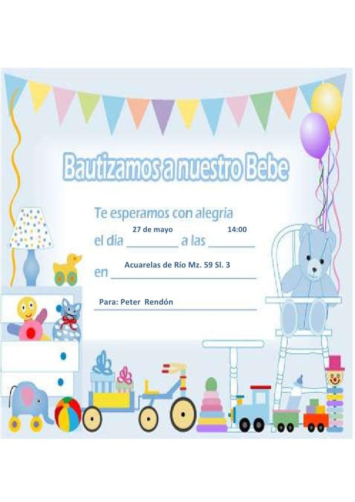 27 de mayo                14:00      Acuarelas de Río Mz. 59 Sl. 3Para: Peter Rendón