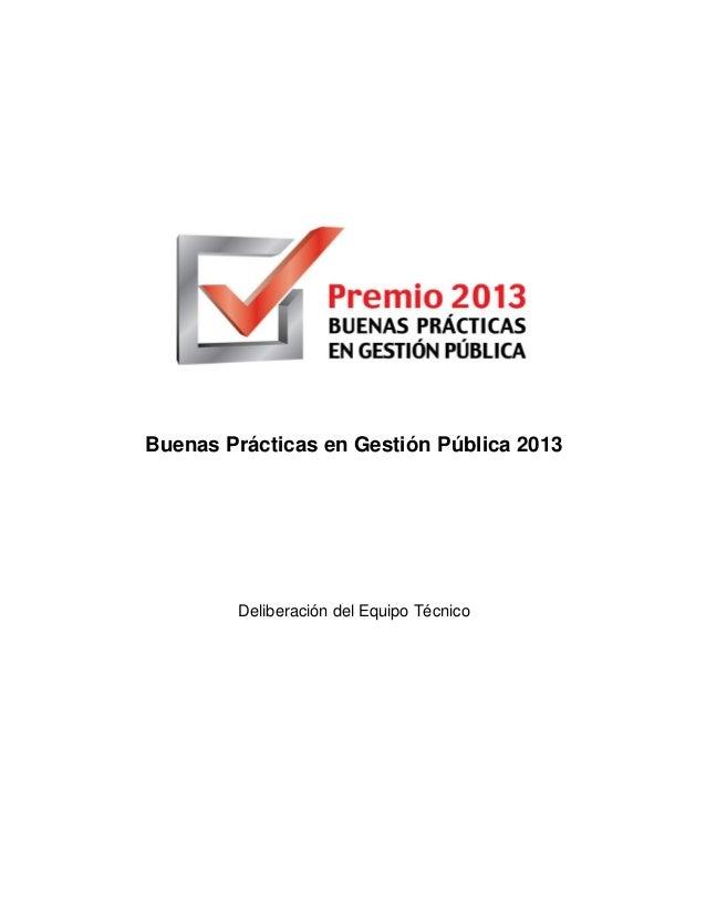 Lista de Buenas Prácticas en Gestión Pública 2013 (Premio BPG)