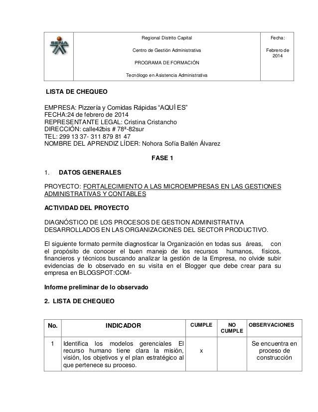 Regional Distrito Capital Centro de Gestión Administrativa PROGRAMA DE FORMACIÓN Tecnólogo en Asistencia Administrativa Fe...