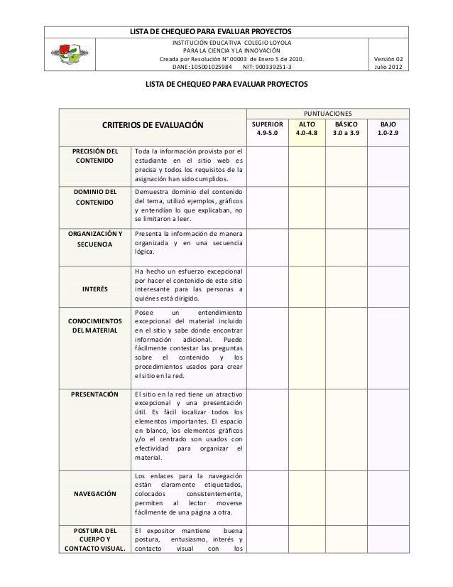 Lista de chequeo para evaluar proyectos