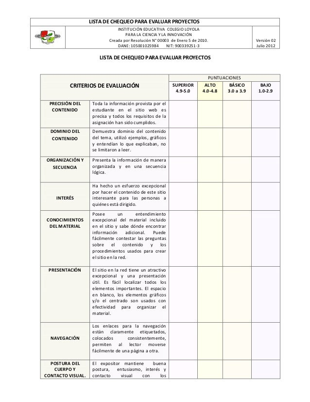 LISTA DE CHEQUEO PARA EVALUAR PROYECTOS INSTITUCIÓN EDUCATIVA COLEGIO LOYOLA PARA LA CIENCIA Y LA INNOVACIÓN Creada por Re...