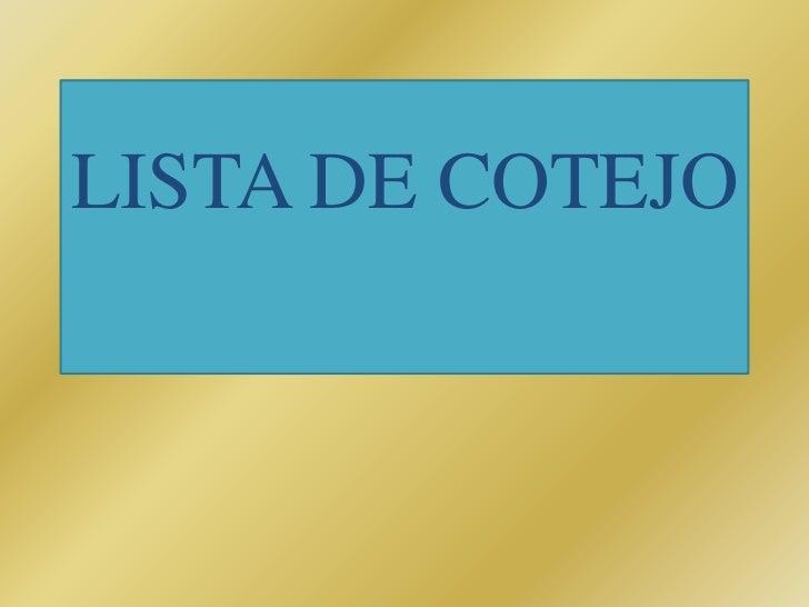 LISTA DE COTEJO<br />