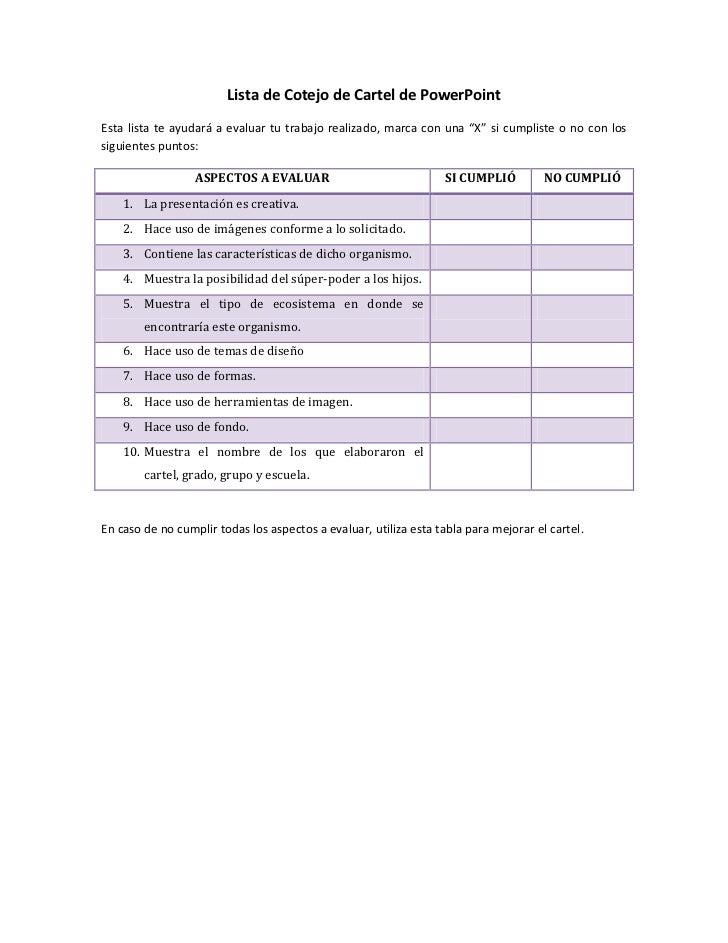 """Lista de Cotejo de Cartel de PowerPointEsta lista te ayudará a evaluar tu trabajo realizado, marca con una """"X"""" si cumplist..."""