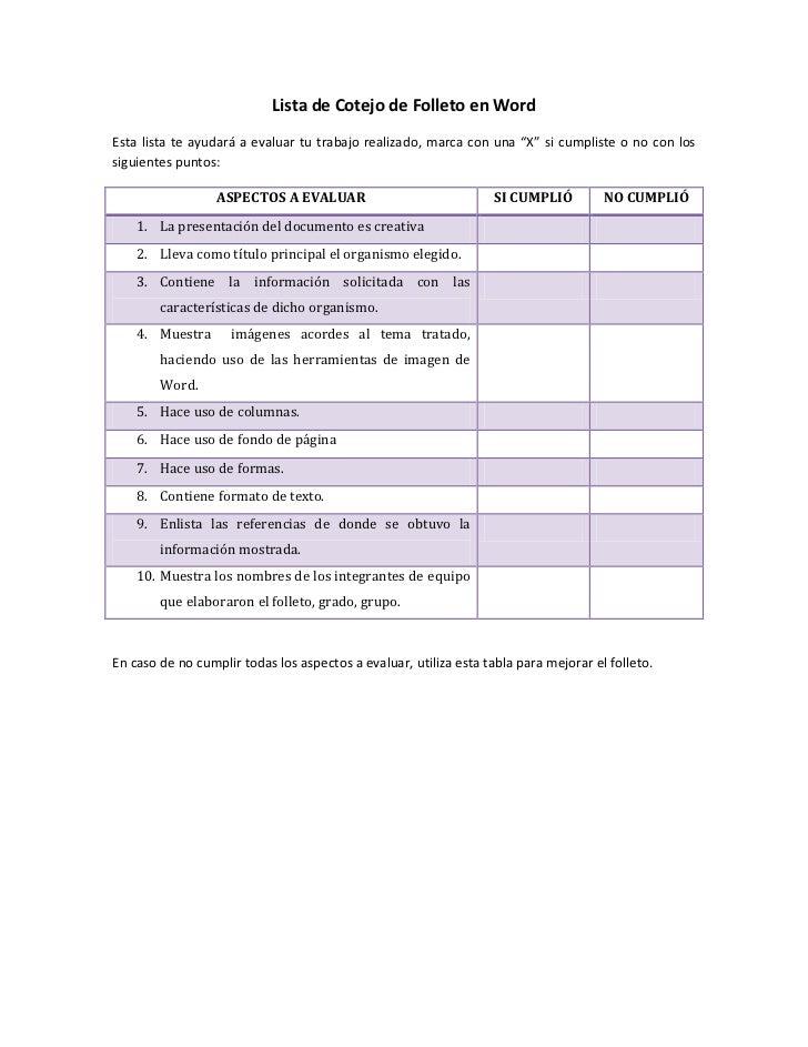 Lista de cotejo de folleto en word