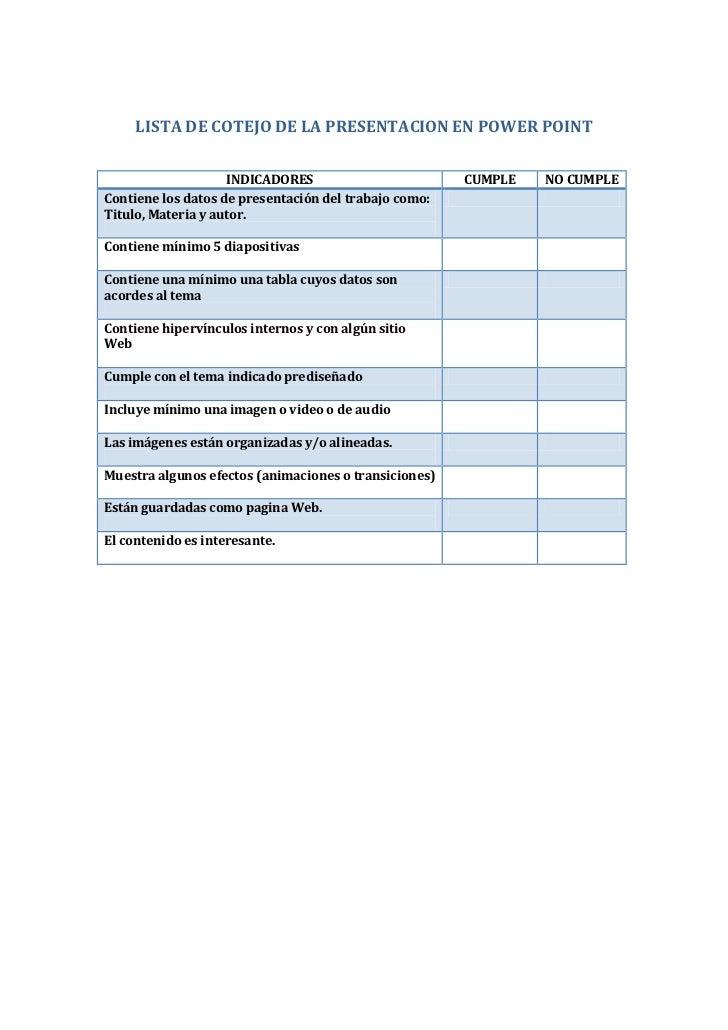 Lista de cotejo de la presentacion en power point