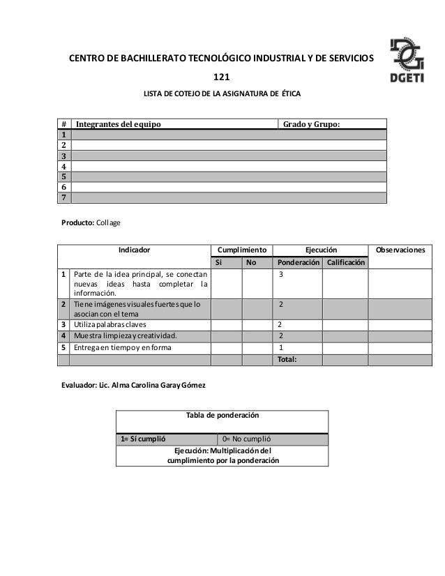 DE SERVICIOS 121 LISTA DE COTEJO DE LA ASIGNATURA DE TICA