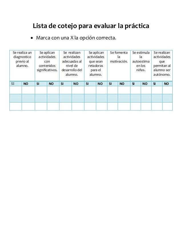 Lista de cotejo para evaluar la práctica Marca con una X la