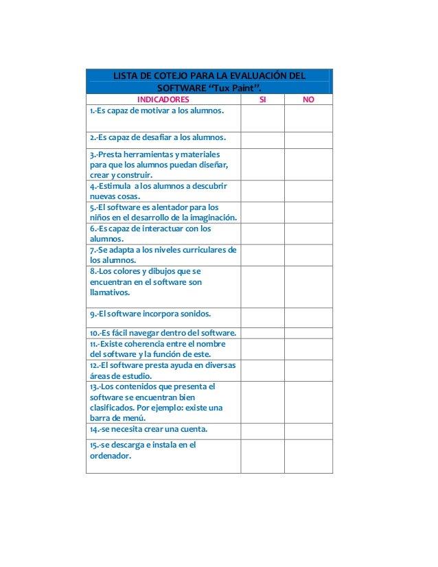 Lista De Cotejos Para Ninos
