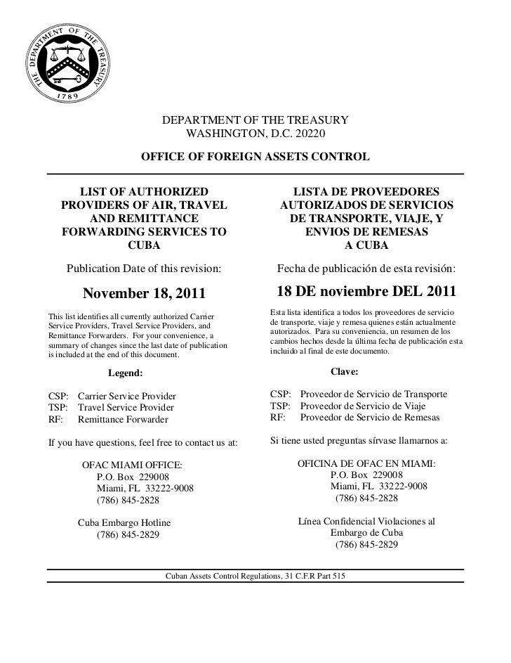 Lista de empresas ofac o lista departamento de comcerio a nov de 2011