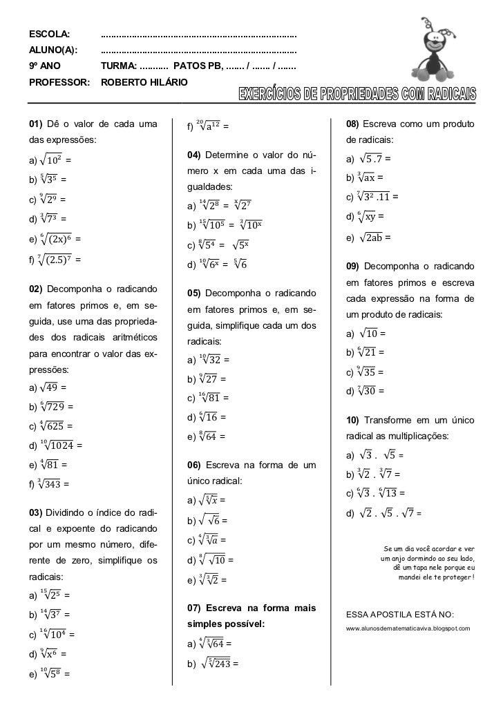 Lista de exercício com propriedades de radicais