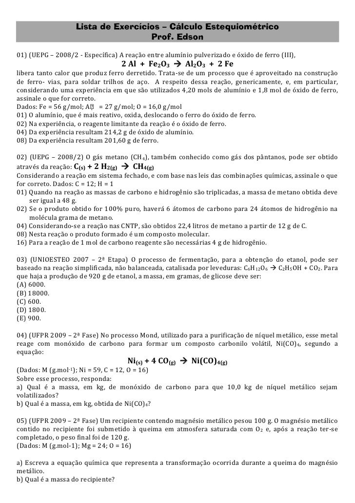 Lista de exercícios - cálculo estequiométrico