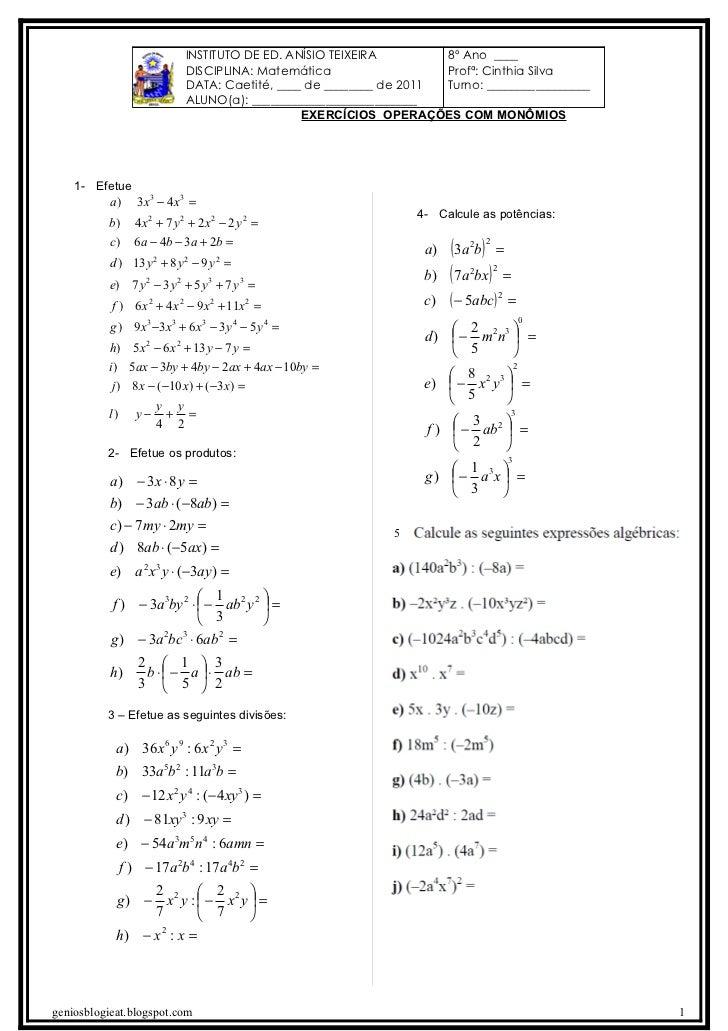 INSTITUTO DE ED. ANÍSIO TEIXEIRA        8º Ano ____                             DISCIPLINA: Matemática                  Pr...