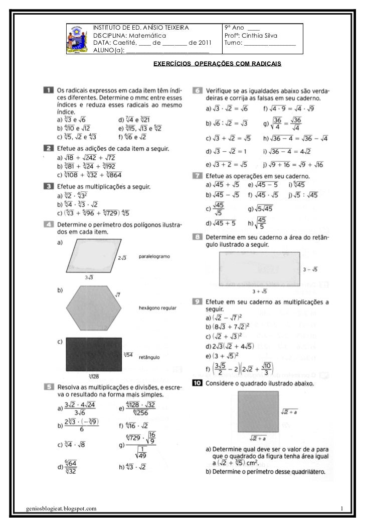 INSTITUTO DE ED. ANÍSIO TEIXEIRA          9º Ano ____                         DISCIPLINA: Matemática                    Pr...