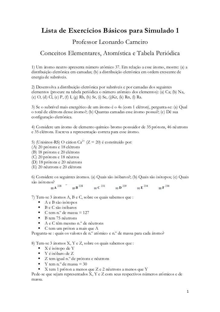 Lista de Exercícios Básicos para Simulado 1                       Professor Leonardo Carneiro     Conceitos Elementares, A...