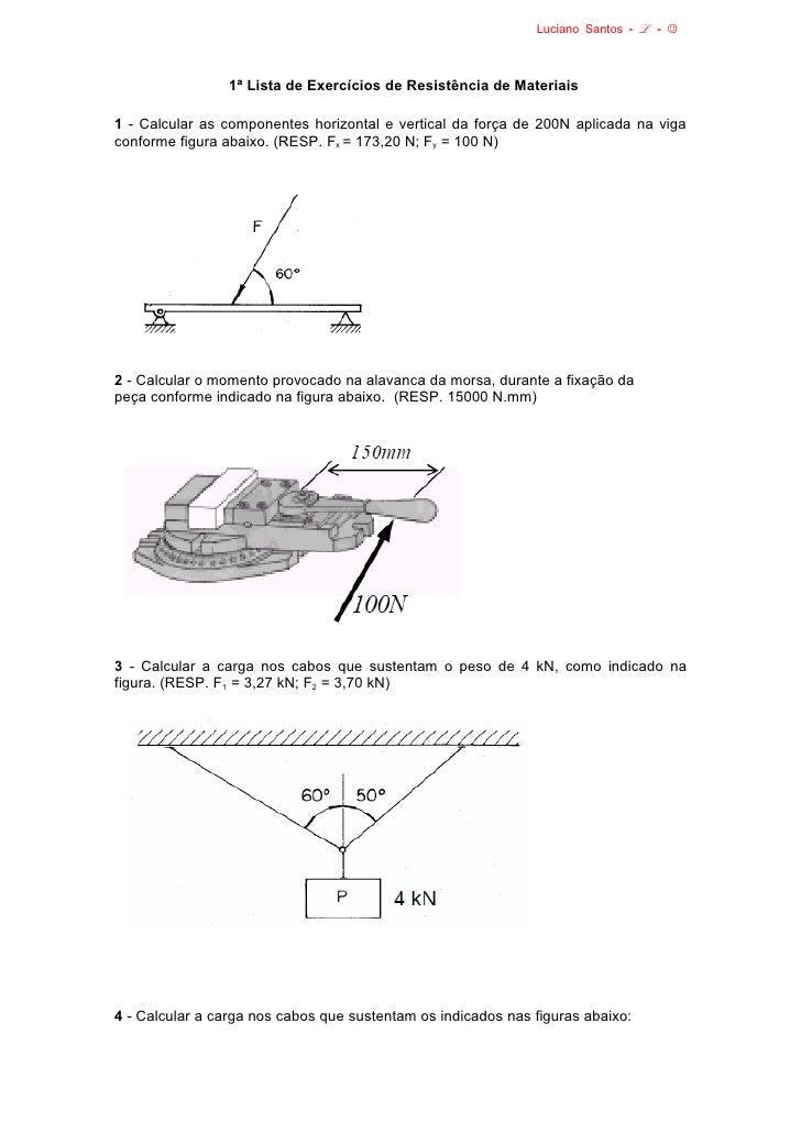 Luciano Santos - ℒ - ☺                 1ª Lista de Exercícios de Resistência de Materiais1 - Calcular as componentes horiz...