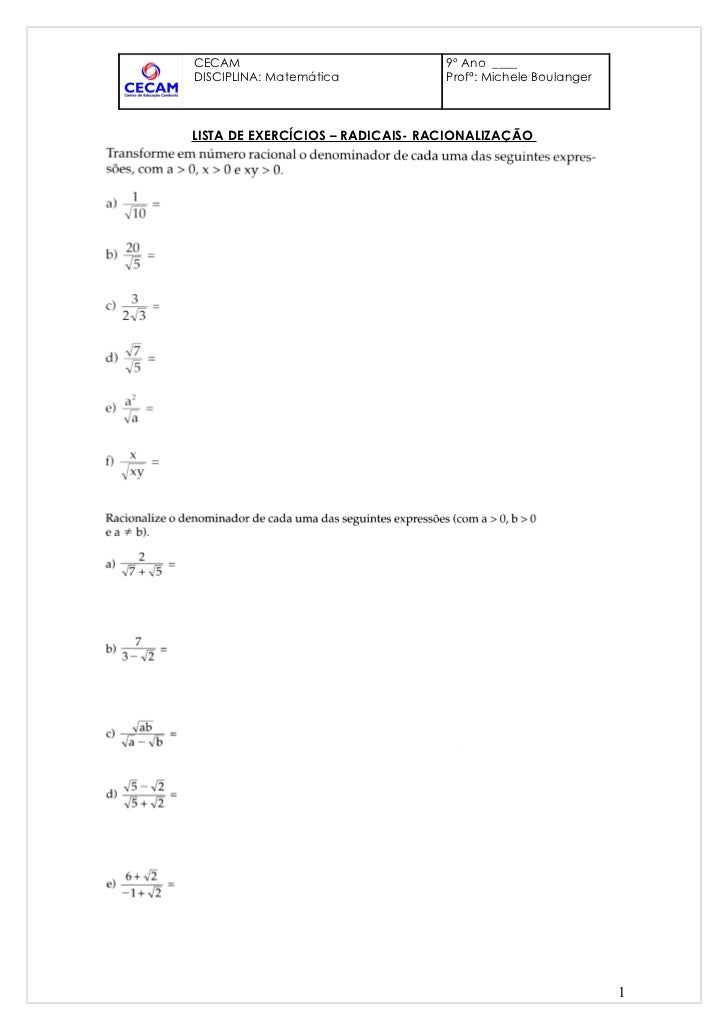 Lista de exercícios racionalização e semelhança de triângulos