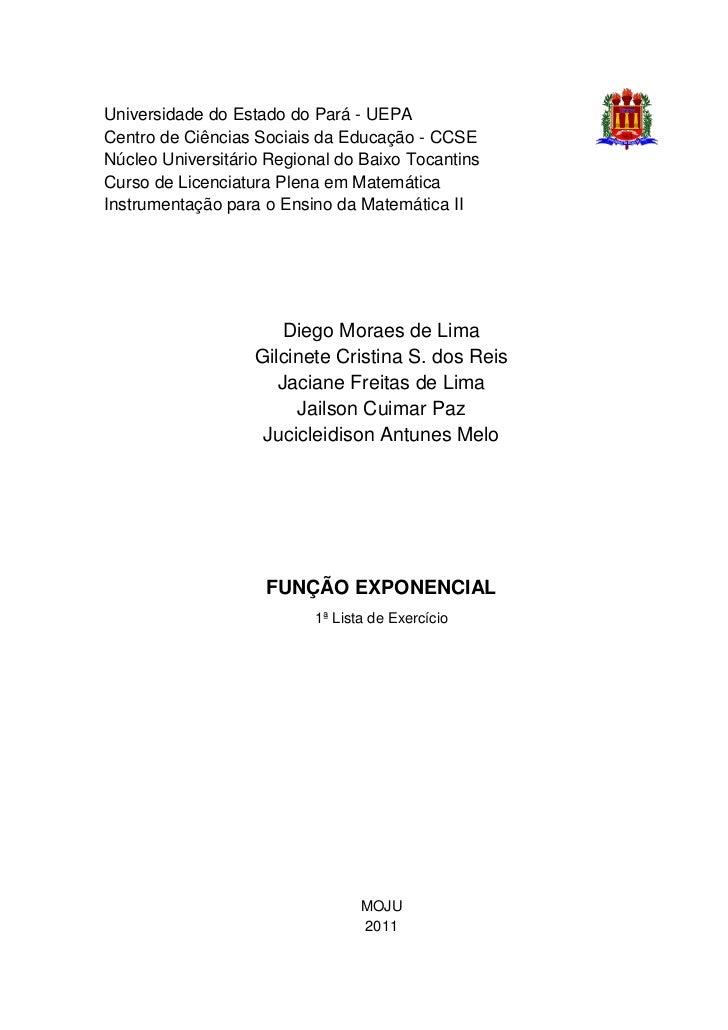 Universidade do Estado do Pará - UEPACentro de Ciências Sociais da Educação - CCSENúcleo Universitário Regional do Baixo T...