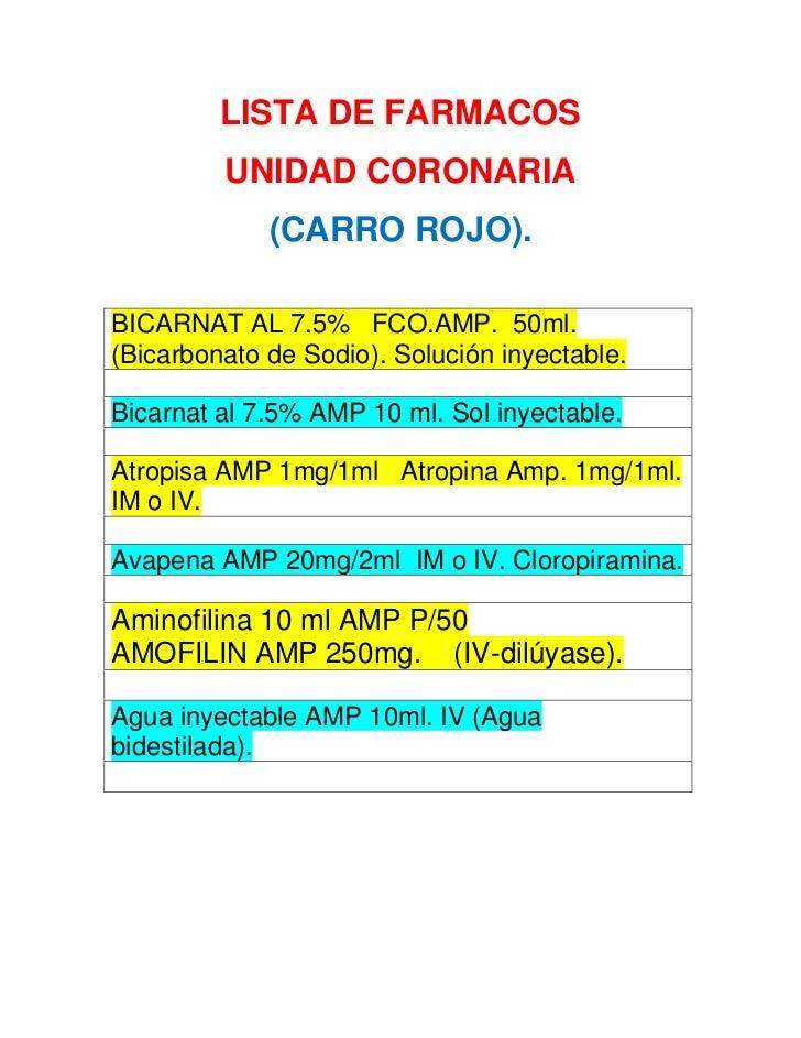 LISTA DE FARMACOS<br />UNIDAD CORONARIA  <br />(CARRO ROJO).<br />BICARNAT AL 7.5%   FCO.AMP.  50ml.  (Bicarbonato de Sodi...