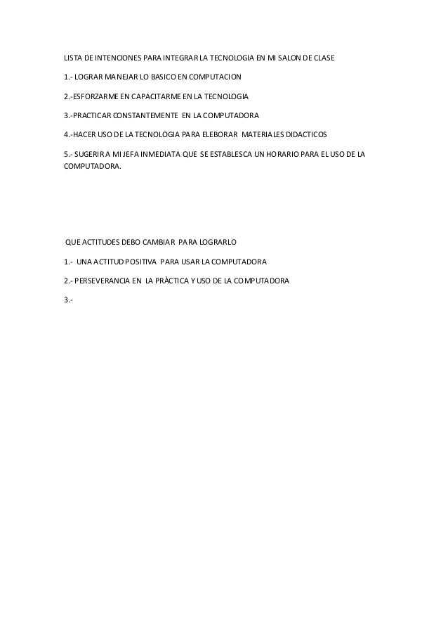 Lista de intenciones para integrar la tecnologia en mi salon de clase