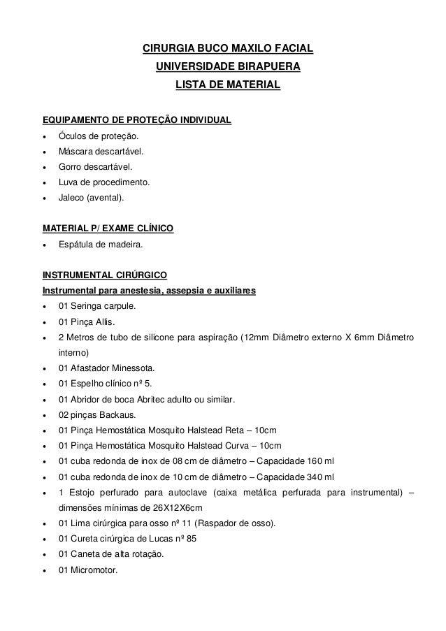 Lista de material cbmf 2013