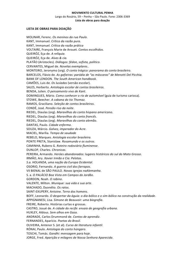 Lista De Obras Para DoaçãO