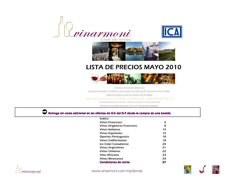 Lista de precios 2010 vinarmoni ica