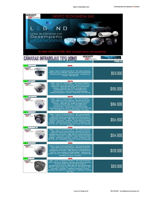 """GRUPO TECNOMEGA SAS DISTRIBUIDOR AUTORIZADO HIKVISION CARACTERISCAS PRECIO 1 HRD900W 900 TVL Imagen: · Sensor 1/3"""" epcom® ..."""