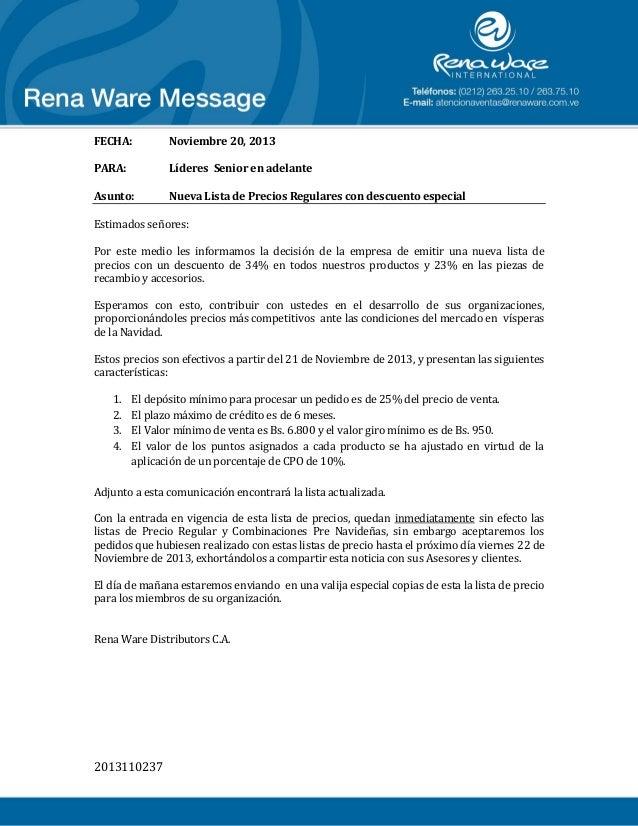 FECHA:  Noviembre 20, 2013  PARA:  Líderes Senior en adelante  Asunto:  Nueva Lista de Precios Regulares con descuento esp...