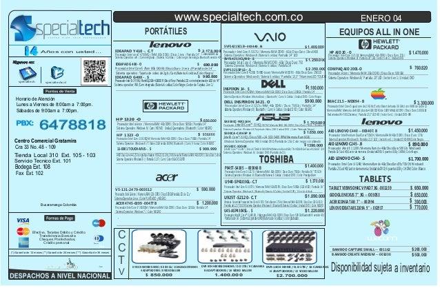Lista de precios specialtech  04 de enero de 2014