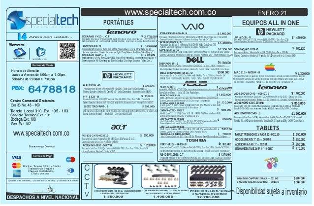 Lista de precios specialtech  21   de enero de 2014