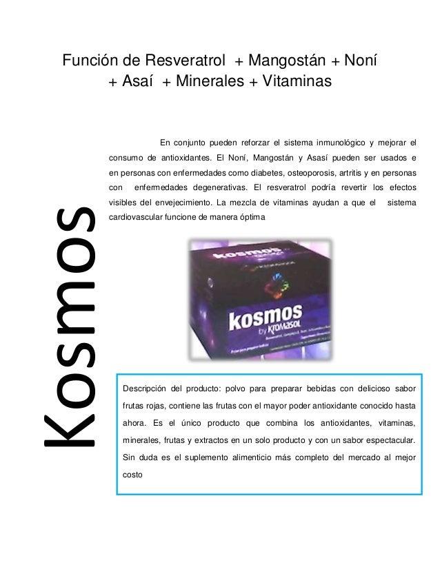 KosmosFunción de Resveratrol + Mangostán + Noní + Asaí + Minerales + Vitaminas En conjunto pueden reforzar el sistema inmu...