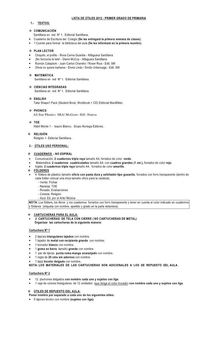 LISTA DE ÚTILES 2012 - PRIMER GRADO DE PRIMARIA    1.-      TEXTOS:  COMUNICACIÓN  Santillana en red Nº 1. Editorial Santi...