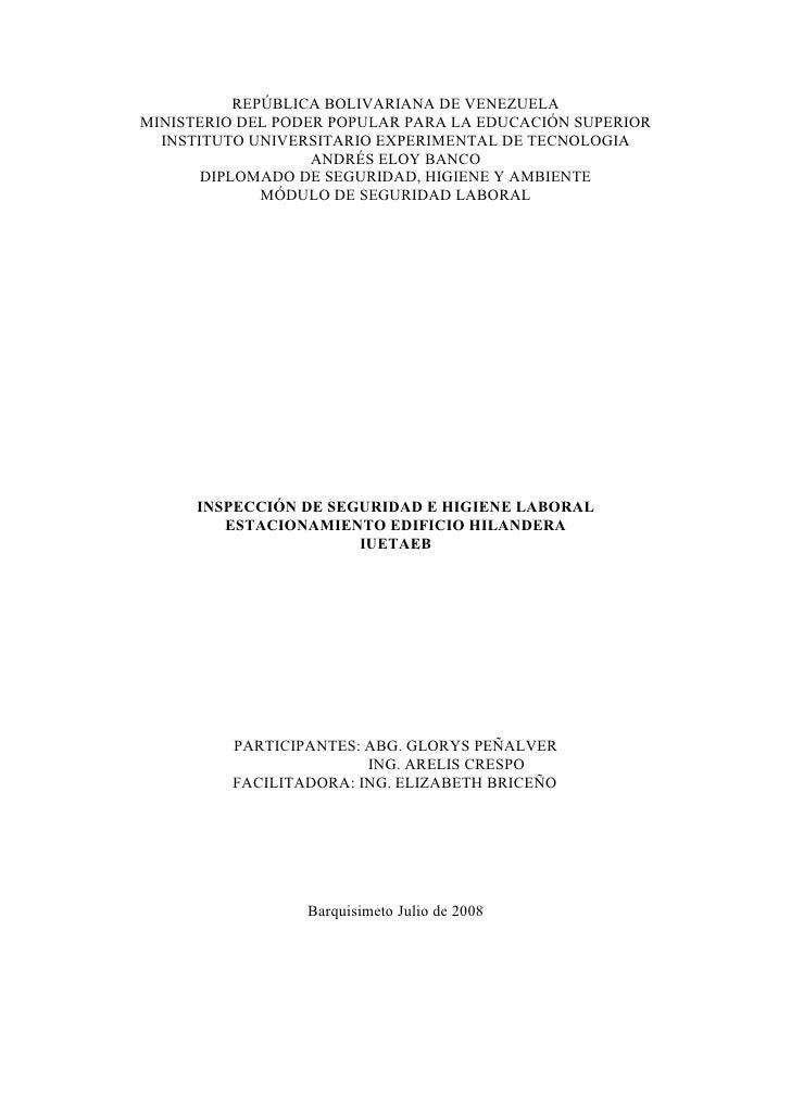 REPÚBLICA BOLIVARIANA DE VENEZUELA MINISTERIO DEL PODER POPULAR PARA LA EDUCACIÓN SUPERIOR   INSTITUTO UNIVERSITARIO EXPER...