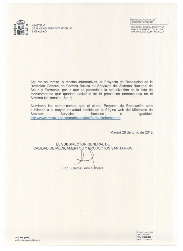 SECRETARIA GENERAL DE                                                                                   SANIDAD Y CONSUMO ...