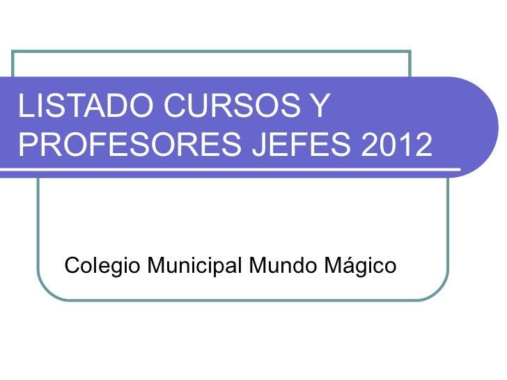 LISTADO CURSOS Y PROFESORES JEFES 2012 Colegio Municipal Mundo Mágico
