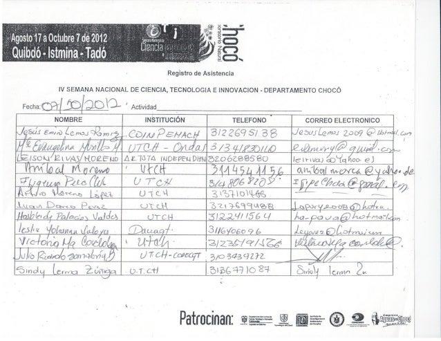 Listado de asistencia ceremonia de clausura quibdó