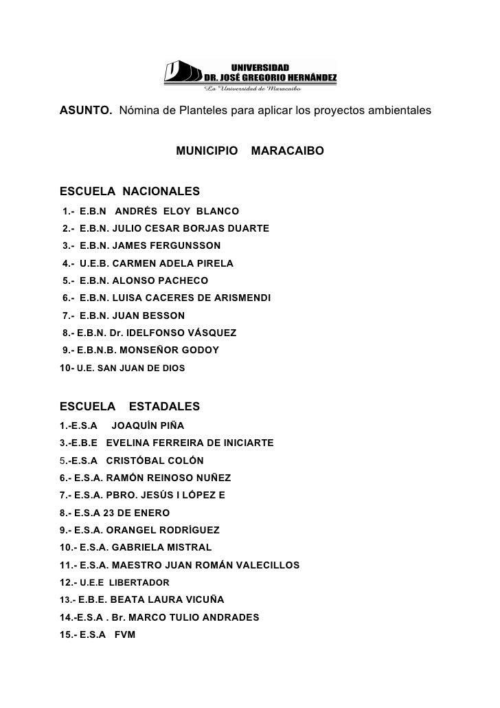 ASUNTO. Nómina de Planteles para aplicar los proyectos ambientales                        MUNICIPIO   MARACAIBOESCUELA NAC...
